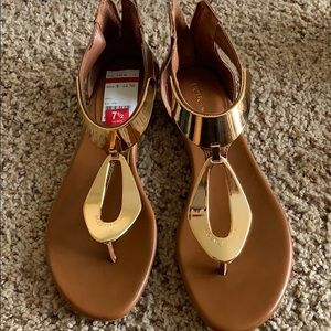 Brown and gold plated BCBG sandals